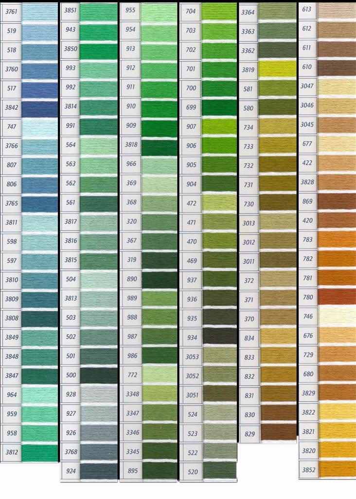 Tabla de colores dmc y matizados carta de colores de dmc mouline articulo 117 - Gamas de colores azules ...